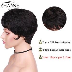 Image 2 - HANNE perruque brésilienne 100% cheveux humains Remy, perruque cheveux humains, courte, humide et ondulée, coupe Pixie, avec frange, sans dentelle, noir