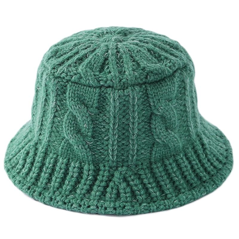 Sombrero de pescador grueso trenzado para mujer, gorro de pescador grueso trenzado con Cable de punto, Color sólido, ala corta a rayas, Color sólido, empacable