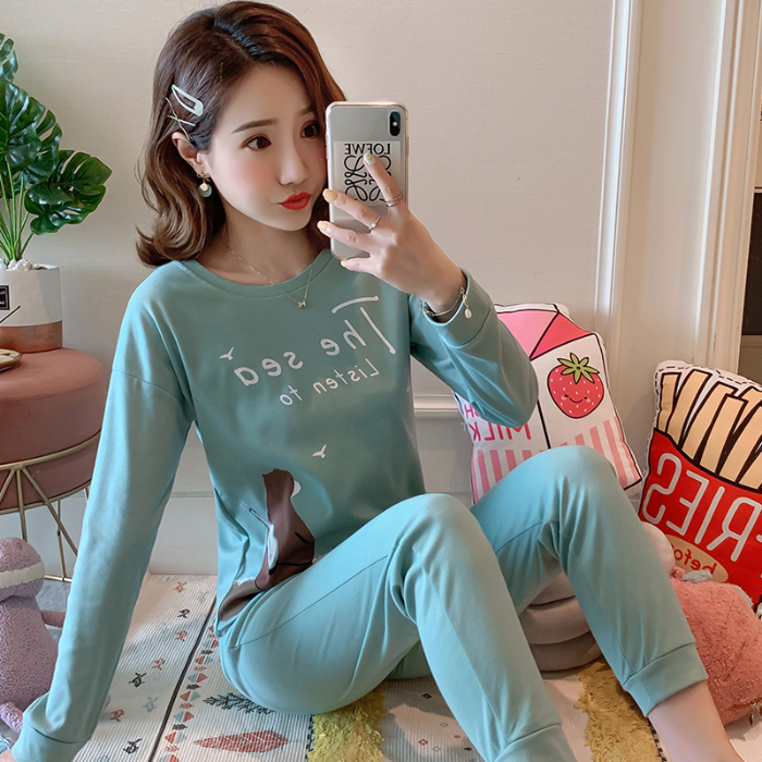New Arrival Nice Pajamas For Women Long Sleeve 2 Pcs Home Suits For Girl Casual Loose Sleepwear Comfortable Inddor Wear