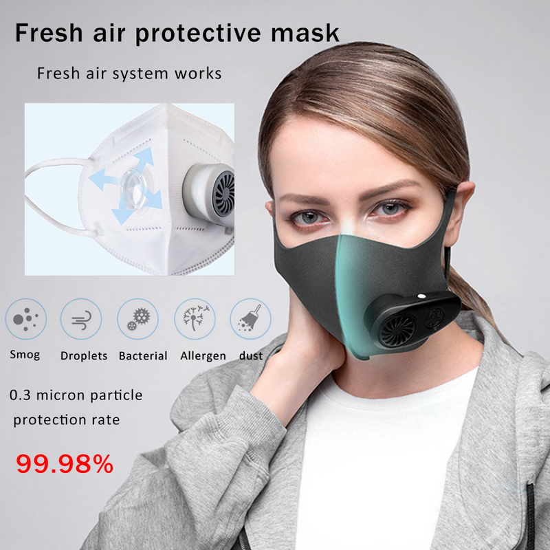N100 Smart Electric Face Mask Air Purifying Anti Dust Pollution Fresh Air Supply Pm2.5 With Breathing Valve Personal Health Care