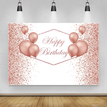 Laeacco Happy Birthday Party Decor Poster Pink Gold Polka Dots Balloons Customized Photo Backdrop Vinyl Photography Background