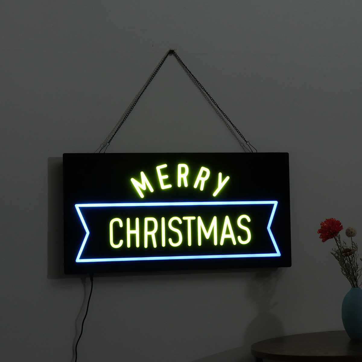 Merry Christmas LED Sign Board Light Hanging Bar Window Display Light Box Party Home Decor Resin Commercial Advertising Lighting