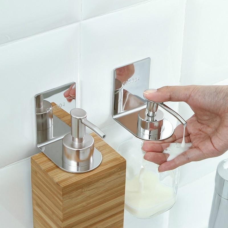 Stainless Steel Wall Hanging Shower Gel Liquid Soap Dispensers Holder Self-Adhesive Punch-Free Shampoo Hook Sanitizer Hanger
