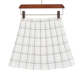 PEONFLY Sweet Women Pleated Skirt Fashion Plaid A-Line Mini High Waist Chic Skirt Kawaii Summer Casual Ladies Plaid Skirt - type2 white, XS