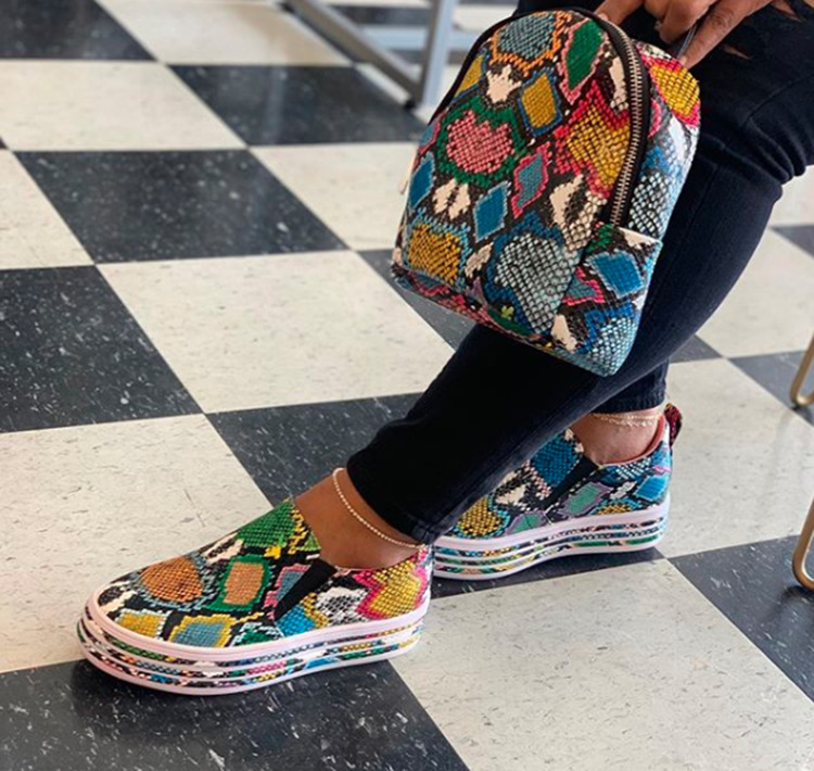 Women Snake Printing PU Leather Vulcanized Shoes Lace up Female Sneakers Fashion 2020 New Platform Woman Shoes Walking Footwear