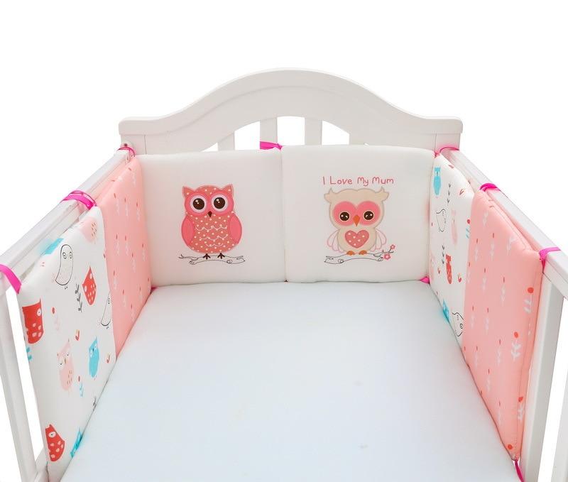 6 Teile/satz Infant Cartoon Eule Krippe Stoßfänger Bett Schutz Baby Kinder Baumwolle Bett Kindergarten Stoßstange Baby Bett Anti-kollision stoßstange