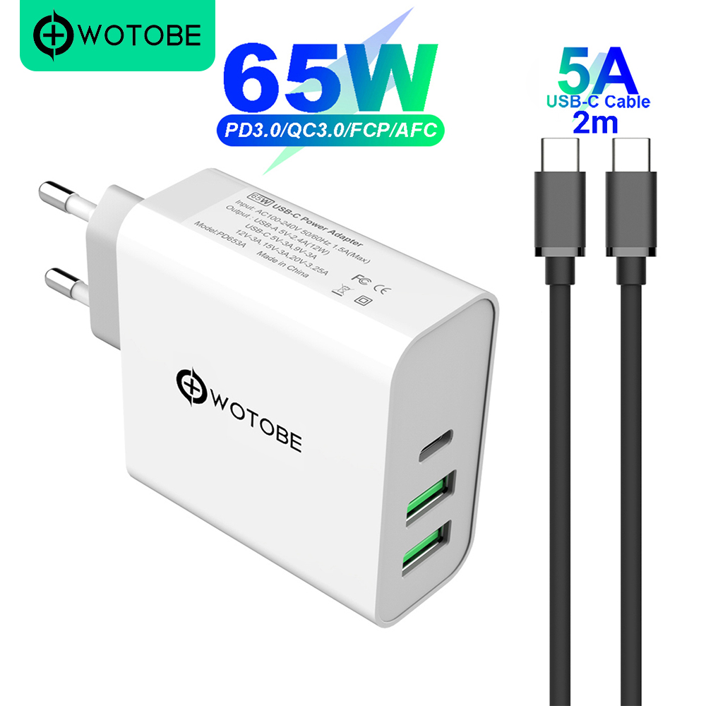 Charger Power-Adapter 2port QC3.0 PD65W TYPE-C iPhone Samsung USB-C Pro/air-iPad Laptops
