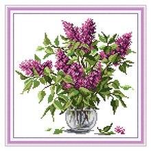 Joy sunday штампованные наборы крестиков фиолетовые цветочные