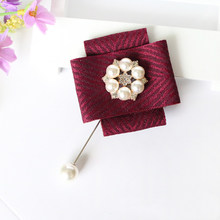 Simple Cloth Large Bow Flower Brooches Ribbon Koreanpearl Rhinestone Coat Suit Collar Bowtie Lapel Pin Men Women Jewelry Luxury(China)