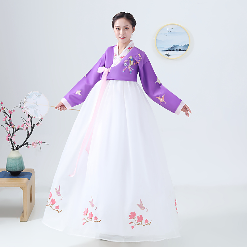 2020 Korean Folk Dress For Women Hanbok Clothes Performance Dress Asian Traditional Korean Costumes Female Floral Embroidery