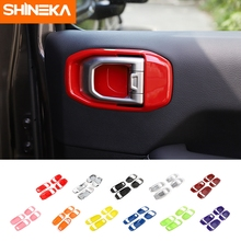 SHINEKA Interior Accessories For Jeep Gladiator JT Car Inner Door Handle Bowl Decor Cover Sticker For Jeep Wrangler JL 2018 2020