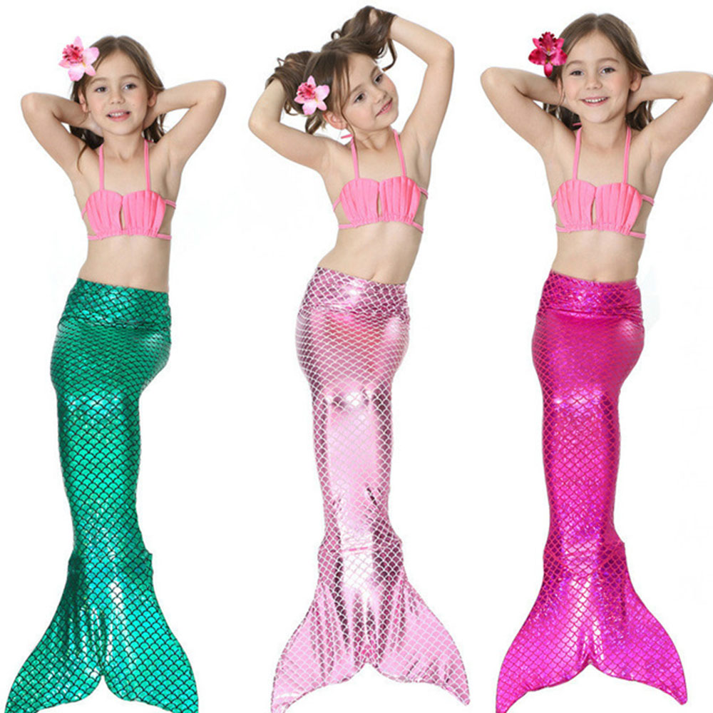 3PCS Children Mermaid Tails For Swimming Party Cosplay Costumes The Little Mermaid Ariel Girls Swimsuit Bikini Set Bathing Suit