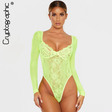 Cryptographic Bow Striped Sheer Lace Bodysuit Long Sleeve Autumn Backless Bodycon Jumpsuits Women Romper Teddy Fashion Clubwear