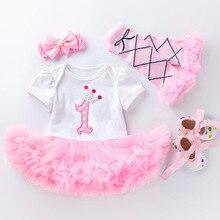 Комбинезон для девочек на 1-й день рождения, платье-пачка, леггинсы с бантом, юбка принцессы, комплект одежды на 1 год, платье на день рождения