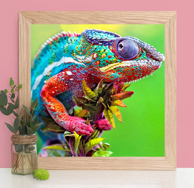 HUACAN DIY Diamond Painting 5D Chameleon Animal Full Square Round Diamond Art Embroidery Home Decor