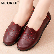 MCCKLE Spring Women Flat Shoes Leather C