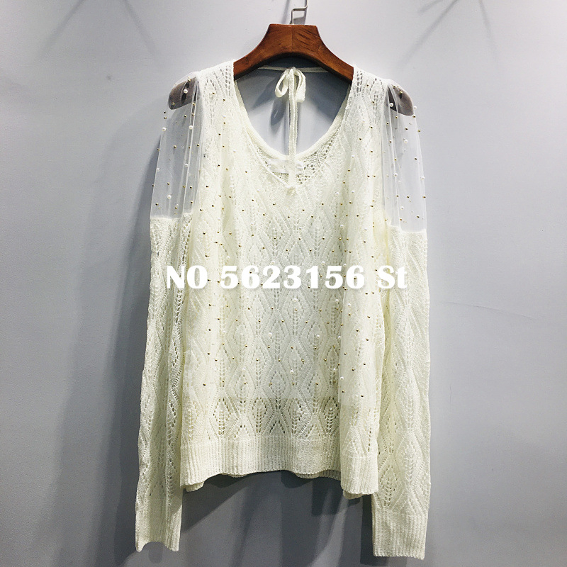 Haute rue femmes pull perle maille gaze weater Sexy col en v tricoté pull coréen haut femmes vêtements