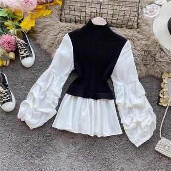 Korean Patchwork Knitted Blouse Women Vintage Turtleneck Lantern Sleeve Fake Two Piece Shirts Ladies plus size Tops blusas mujer turtleneck falbala patchwork plaid blouse
