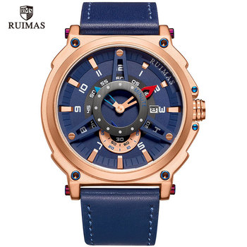 Ruimas Men Watches Waterproof Quartz Leather