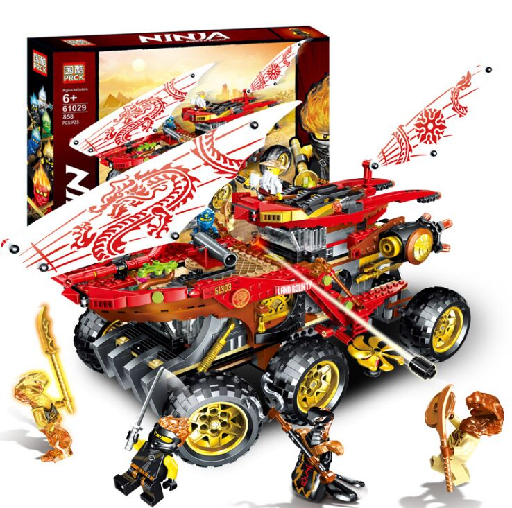 New 858pcs Ninja Land Bounty Truck Model Building Blocks Compatible Legoinglys 70677 Ninjagoes Kids Toy Bricks Gifts