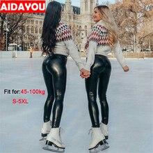 PU Leggings Womens Plus Size High Waist Skinny Push Up Leggings  Sexy Elastic Trousers Stretch 5XL PU Leather Pants ouc306 недорого