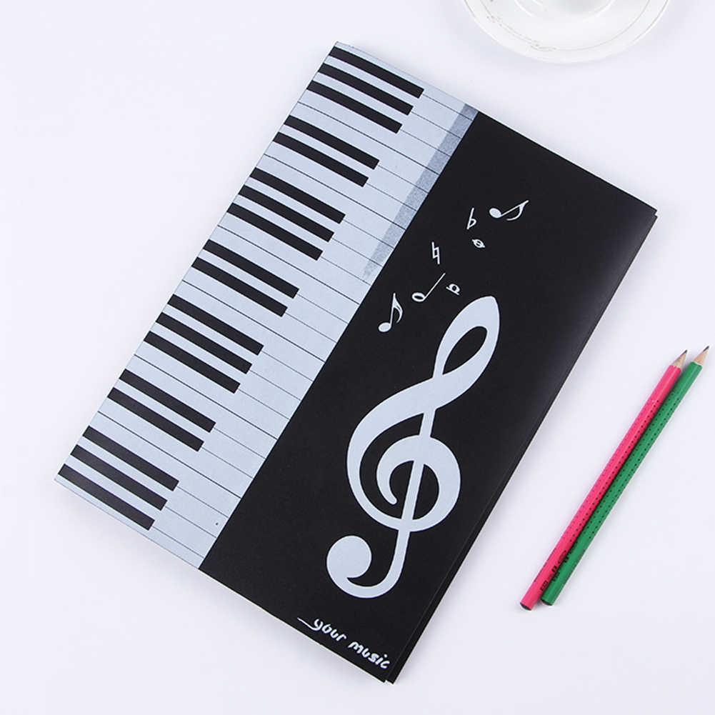Archivo de Documentos reproductor de instrumentos Clips Caja multifuncional Piano concierto almacenamiento hoja A4 nota carpeta de música de seis páginas cuatro lados