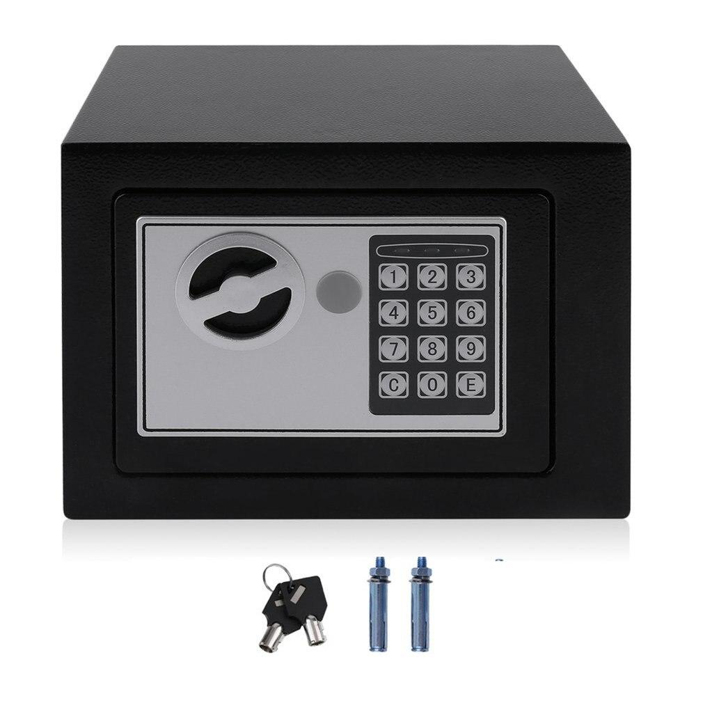 Твердый стальной электронный сейф с Блокировка цифровой клавиатуры 4.6L мини запираемый денежный ящик для хранения наличных ювелирных изделий чехол для хранения