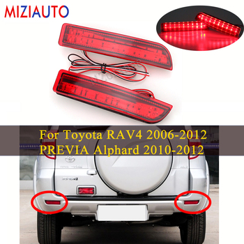 цена на 1 Pair Led Rear Bumper Reflector light For Toyota RAV4 2006-2012 PREVIA Alphard 2010-2012 Tail Stop Brake Lamp Car Parts