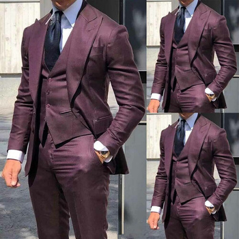 Dark Wine Red Slim Fit Suits For Men 3 PCS Mens Suits Wedding Groom Peak Lapel Tuxedos Business Dinner Slim Fit Suits For Men