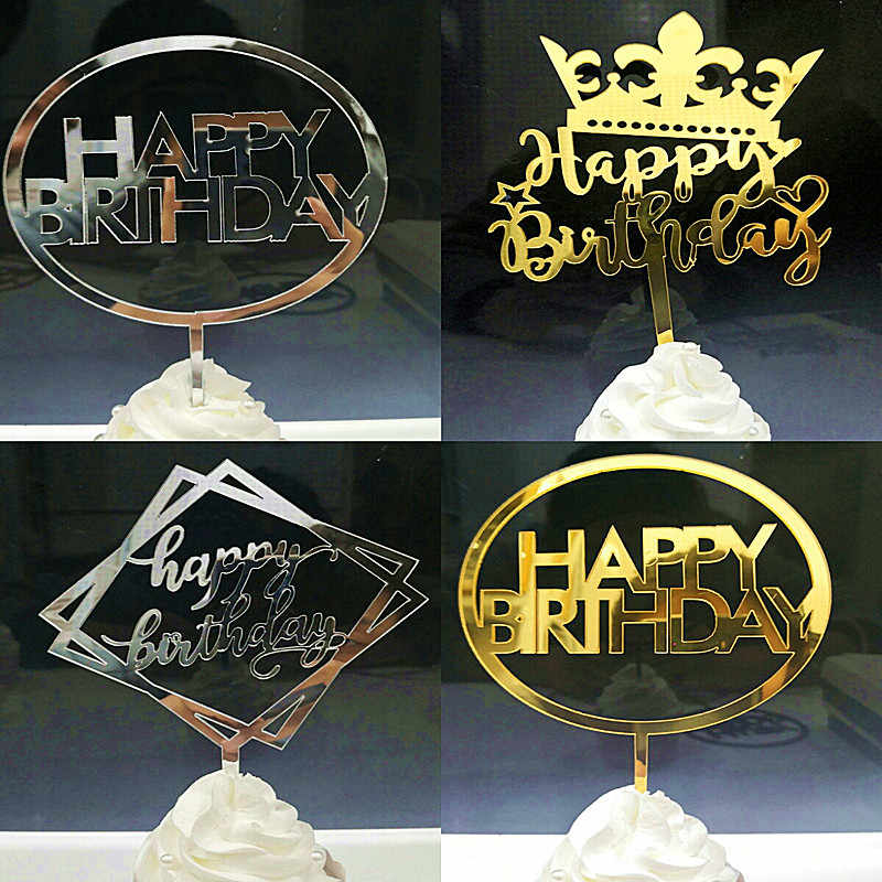 Ins feliz aniversário bolo acrílico topper cupcake topper para festa de aniversário decorações do bolo chá de fraldas