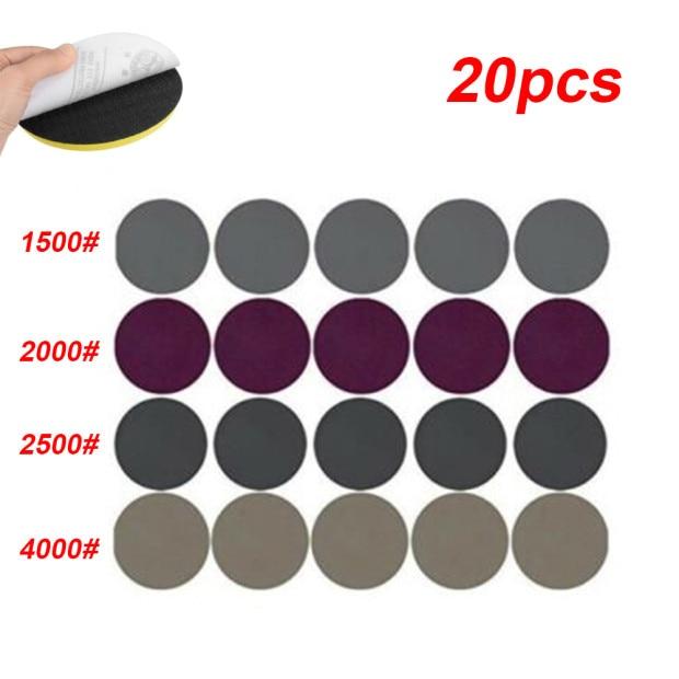 20pcs 3 Inch Sandpaper Polishing Wood Metal Workshop Equipment Sanding Disc Tool