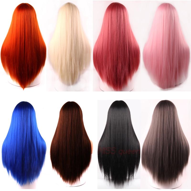 Купить linghang черный длинный прямой парик с челкой синтетические