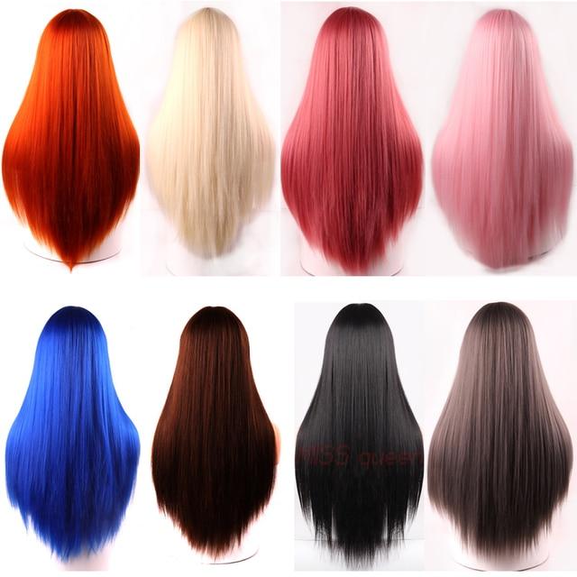 Фото linghang черный длинный прямой парик с челкой синтетические