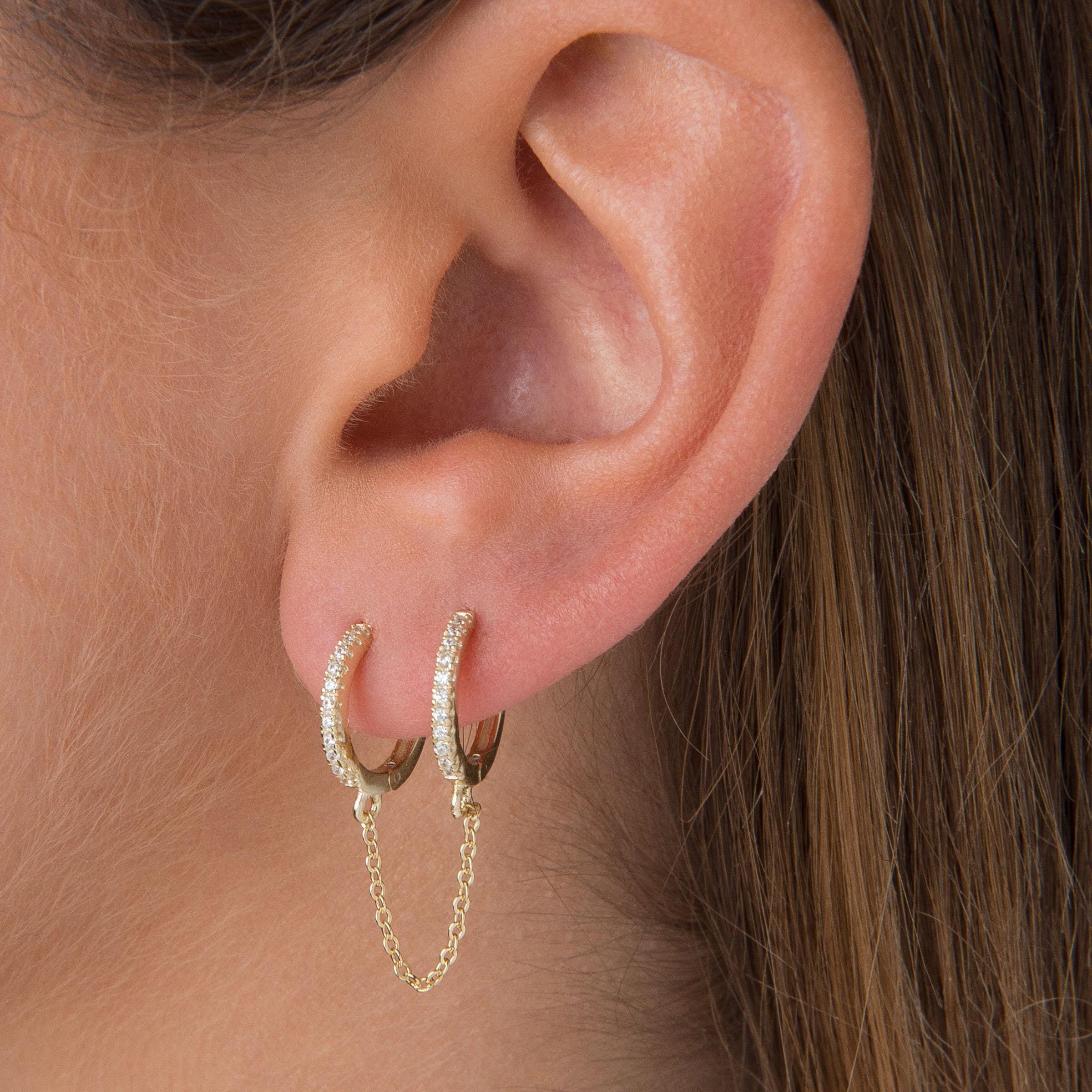 2 Hole Double Piercing Mini Small Huggie Hoop With Tassel Chain Earring Women Fashion Shiny Cz White Blue Green Stone Jewelry Hoop Earrings Aliexpress