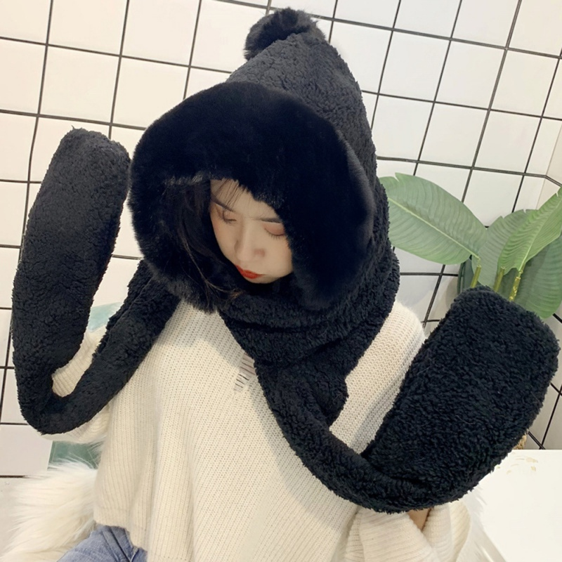 Winter New Wild Thick Warm Plush Double-layer Scarf Cap Design Cute Cat Ears Hat Scarf Gloves Parent-child 3Pcs Set