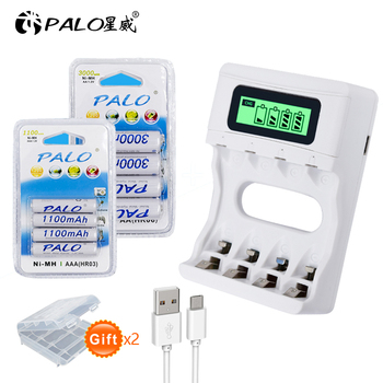 PALO 1.2V AAA and AA rechargeable battery NI-MH 2A 3A batteries + intelligent USB fast charging LCD charger
