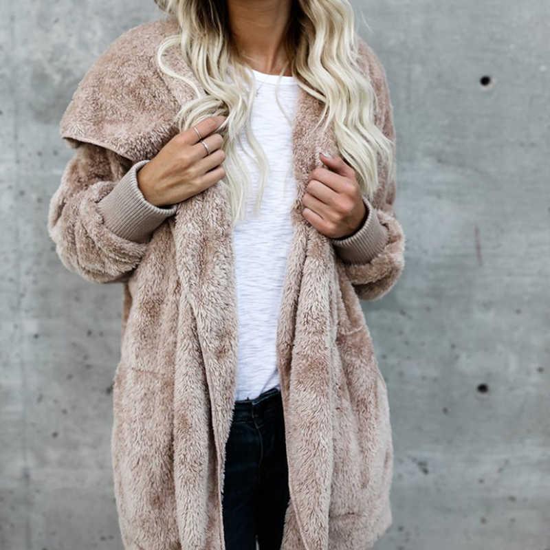 여성 시뮬레이션 모피 코트 가을 겨울 여성 의류 패션 캐주얼 중간 길이 솔리드 컬러 더블 사이드 자켓 여성을위한