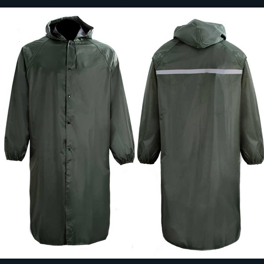 Lampu Hijau Cover Jas Hujan Panjang Jaket Poncho Topi Abrigo Hombre Tahan Air Tahan Air Hujan Mantel Mantel B50
