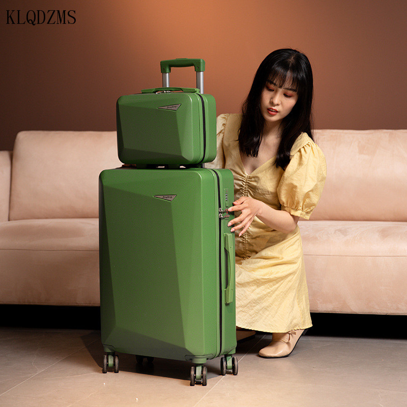KLQDZMS 20''22''24''26 Inch Trolley Luggage Set Mens Fashion Travel Luggage Bags Woman's Suitcases With Cosmetics Case