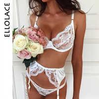 Ellolace сексуальный кружевной комплект нижнего белья, женский прозрачный комплект нижнего белья, комплект из 3 предметов, низкая чашка, Lenceria ...