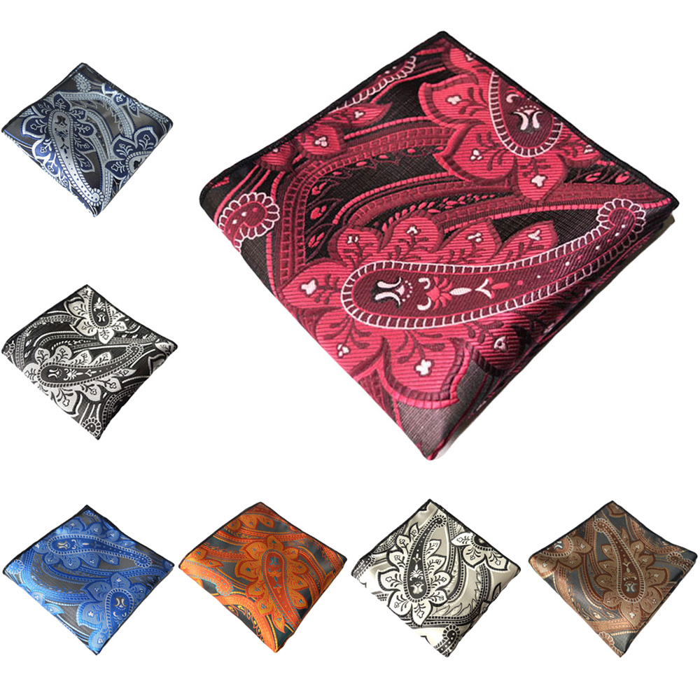 Men High Grade Pocket Square Paisley Printed Hanky Formal Handkerchief Party