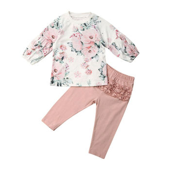 Pudcoco Toddler Kids Baby Girl Clothes Puffle Sleeve Floral Tops Pink Ruffle Pants Winter Causal Child Outfits Clothes 1-6Y image