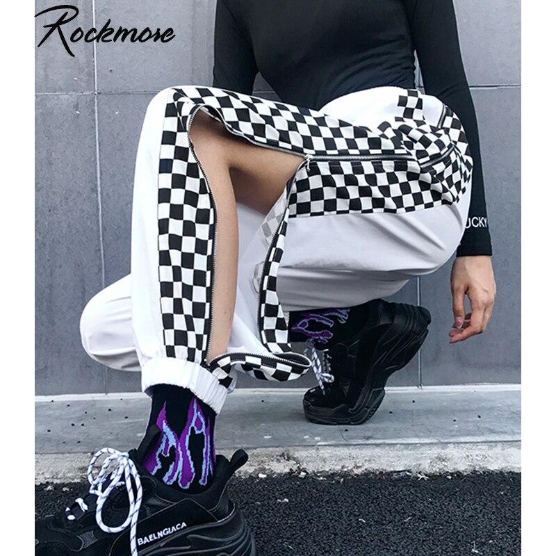 Rockmore Zipper Split Plaid   Wide     Leg     Pants   Women Pluse Size Checkered High Waist Cargo Ladies Street Wear Oversized SweatPants