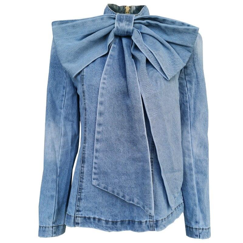 Goodlishowsi automne conception de piste femmes Jeans manteau hauts grand arc col montant à manches longues dos Zipper vestes Vintage