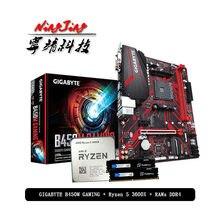AMD Ryzen 5 3600X R5 3600X CPU + GIGABYTE GA B450M płyta główna do gier + pumetou DDR4 2666MHz RAMs garnitur gniazdo AM4 bez chłodnicy