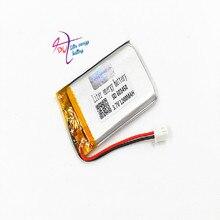 JST 2,54 мм 2 pin 603450 3,7 V 1200MAH 063450 литий-полимерная LiPo аккумуляторная батарея для Mp3 наушников DVD bluetooth камеры