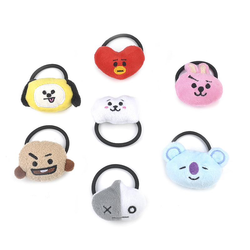 Kpop Bangtan Boys Hair Band Kids Elastic Hair Rubber Bands Girls Cute Kawaii Korean Style Head Band Plush Hair Hoop Accessories