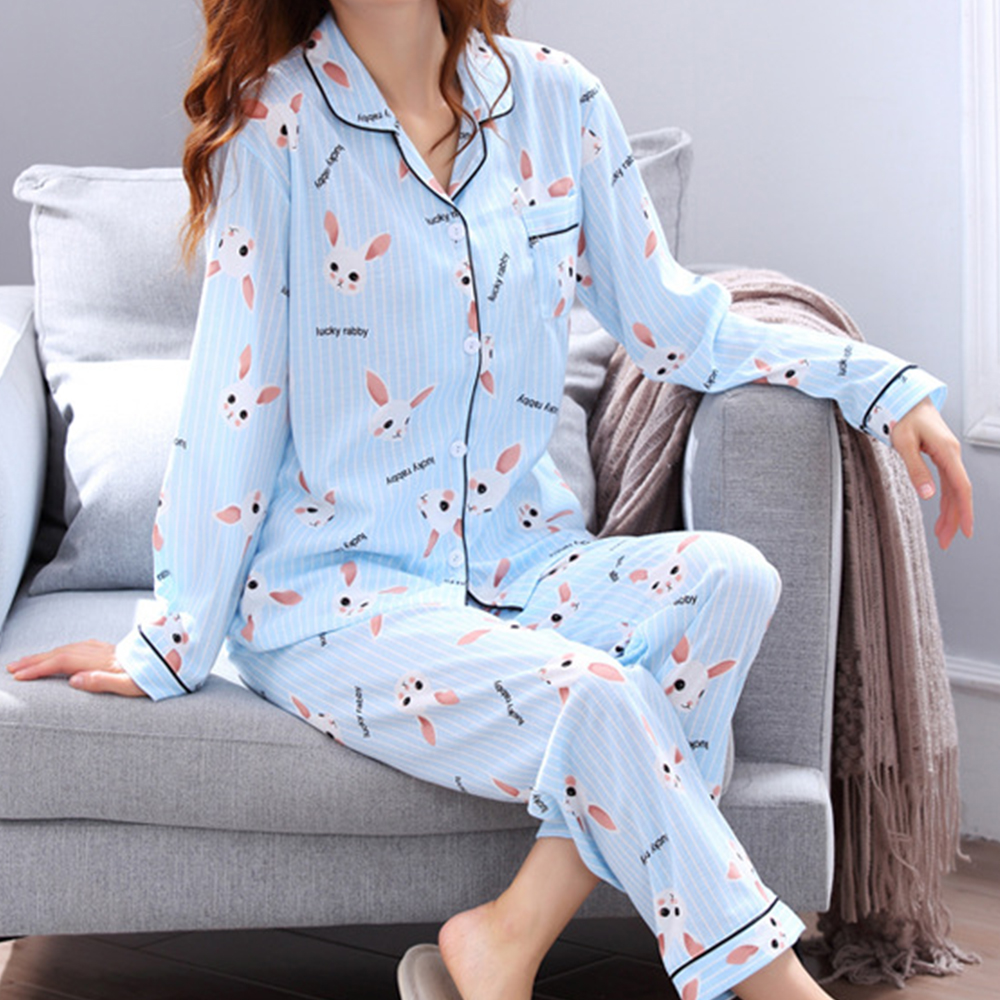 Cute Pajamas For Women Long Sleeve Spring Womens Pajamas Sleepwear V-collar Pajama Set Pijamas Women Cartoon Sleepwear