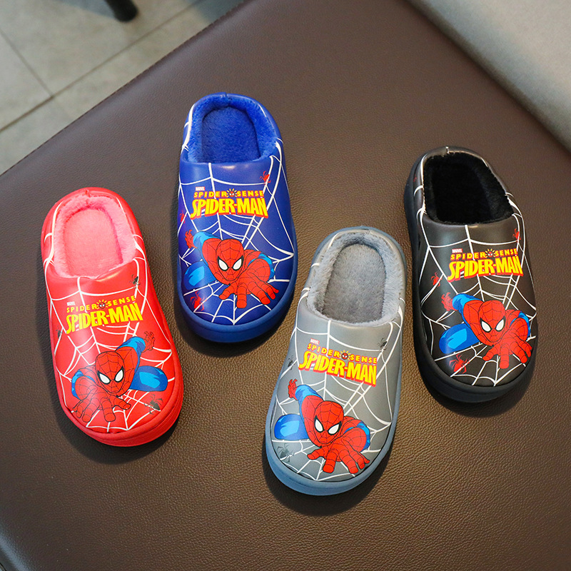 New Spiderman Winter Kids Plush Slippers For Girl Toddler Fluff Flip Flop Boys Indoor Cartoon Warm Home Children Leather Slipper