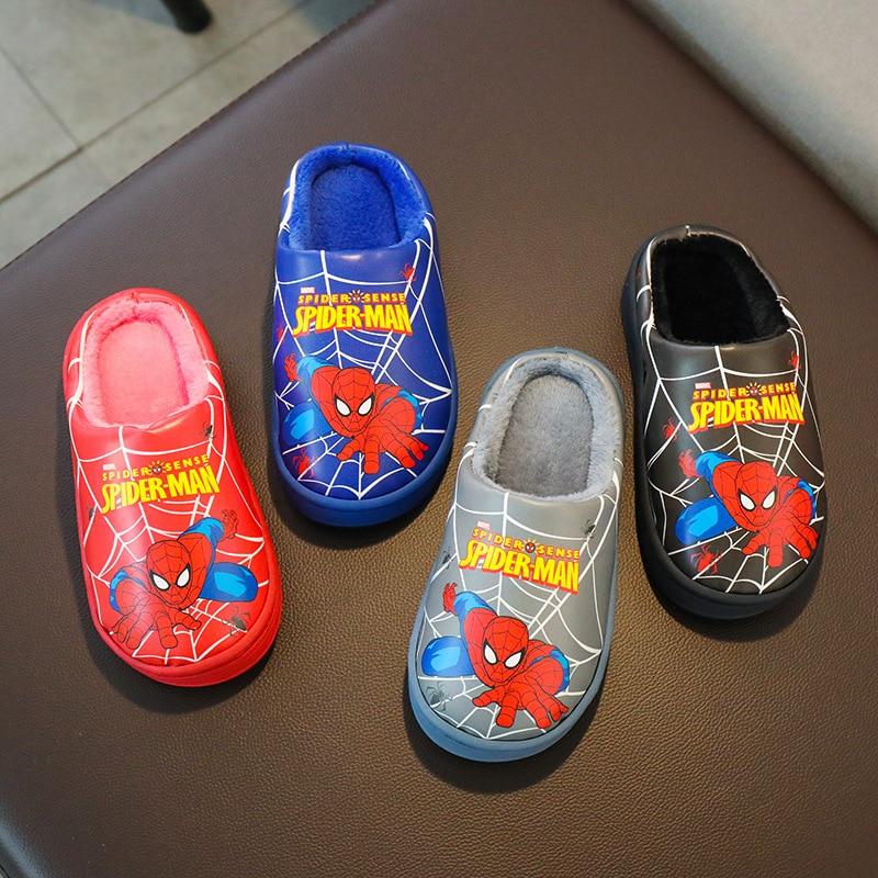 New Spiderman Winter Kids Plush Slippers For Girl Toddler Fluff Flip Flop Boys Indoor Cartoon Warm Home Children Leather Slipper